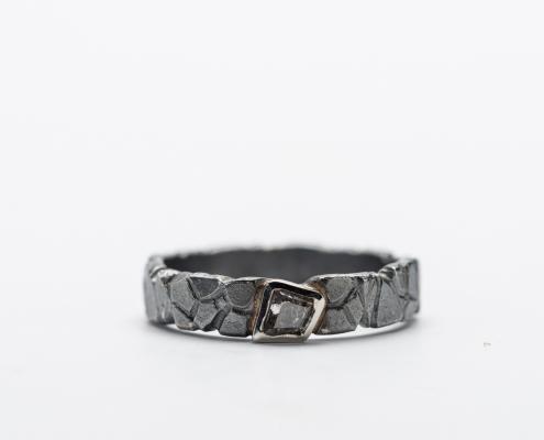 zilver met gouden ring salt en pepperdiamonds