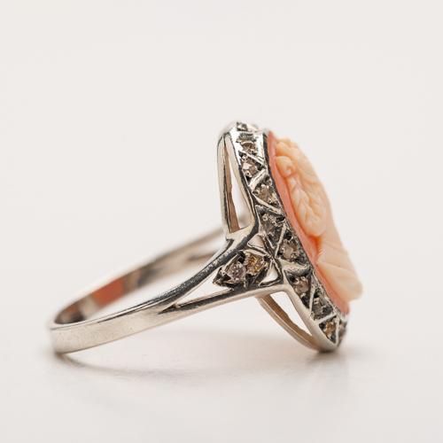 diamant en antieke camee in zilver