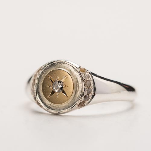 all natural diamonds, goud en zilver en diamant in ster en rand